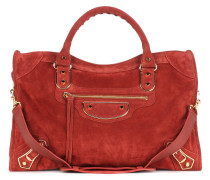 Tasche Classic Metallic Edge City aus Veloursleder