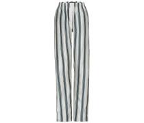 Gestreifte Pyjamahose aus Baumwoll-Seiden-Faille