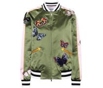 Silk bomber jacket with appliqués