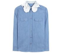 Bluse aus Baumwoll-Chambray mit Spitzenkragen