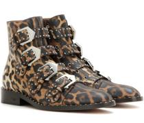 Verzierte Ankle Boots Elegant aus Leder mit Leopardenprint