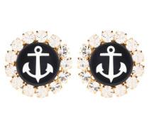 Clip-Ohrringe mit Anker und Kristallsteinen