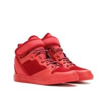 High-Top-Sneakers aus Leder und Samt