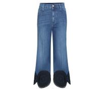 Bestickte Jeans in Cropped-Länge