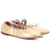 Garavani Rockstud Ballerinas aus Metallic-Leder