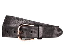Ledergürtel - schwarz/ silbergrau metallic