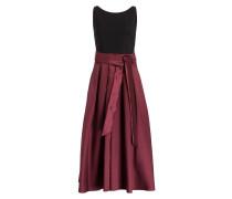 Midi-Kleid - schwarz/ burgunder