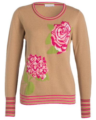 Strickpullover - camel/ rosa/ grün