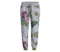 Sweatpants - grau/ grün/ rosa