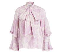Schluppelbluse aus Seide - rosa/ weiss