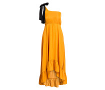 One-Shoulder-Kleid RASTI - orange/scwarz