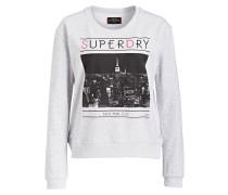 Sweatshirt - graumelliert/schwarz/pink
