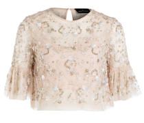 Shirt mit Paillettenbesatz - rose