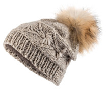 Mütze mit Pelzbommel - sand