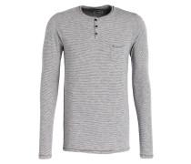Henley-Shirt - grau gestreift