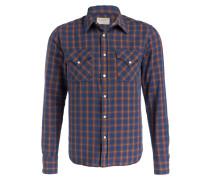Flanellhemd JONIS Slim-Fit - blau/ gelb