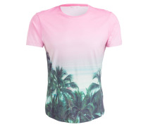 T-Shirt PALMS APLENTY - rosa/ grün