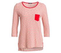 Shirt mit 3/4-Arm - weiss/ rot gestreift