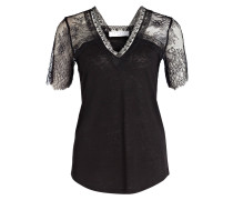 Blusenshirt mit Spitzenbesatz - schwarz