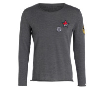 Pullover mit Patches - grau