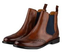 Chelsea-Boots SELINA - COGNAC/ DUNKELBLAU