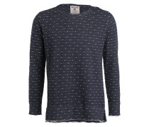 Sweatshirt - dunkelblau meliert/ weiss