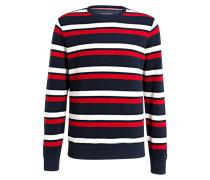 Pullover - marine/ rot/ weiss gestreift