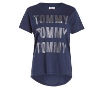 T-Shirt - navy/ silber metalic