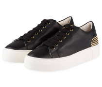 Plateau-Sneaker mit Nietenbesatz - schwarz