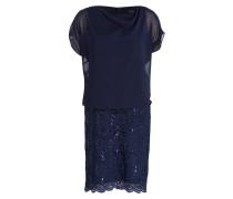 Kleid mit Spitzenbesatz - dunkelblau