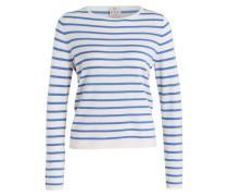 Pullover mit Cashmeranteil - blau/ weiss