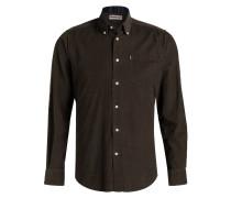 Feincord-Hemd Tailored-Fit - grün