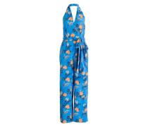 Seiden-Jumpsuit - blau/ apricot/ mint