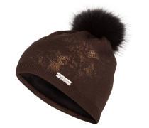 Mütze mit Pelzbommel - braun/ bronze