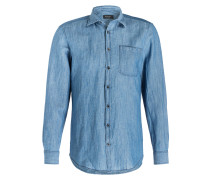 Jeanshemd Regular-Fit mit Leinenanteil