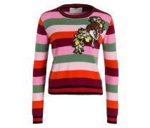 Cashmere-Pullover - rot/ rosa/ grün