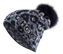 Mütze mit Pelzbommel - navy/ blaugrau
