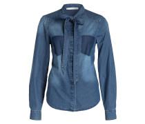 Jeans-Schluppenbluse - blau