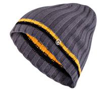 Strickmütze aus Cashmere - grau/ gelb