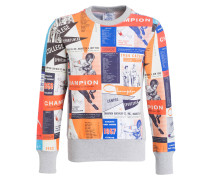 Sweatshirt - orange/ blau/ grau