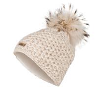 Mütze mit Pelzbommel - creme