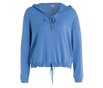 Cashmere-Pullover mit Kapuze - blau