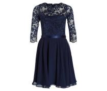Kleid mit Spitzenbesatz - navy