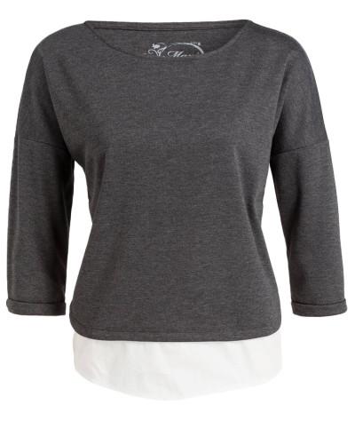 Shirt 3/4-Arm - dunkelgrau meliert