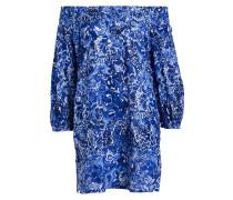 Off-Shoulder-Strandkleid - blau/ weiss