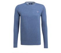 Piqué-Pullover - blau meliert