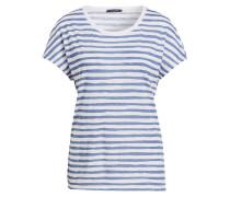 T-Shirt - weiss/ blau kariert