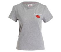 T-Shirt - grau meliert/ weiss/ rot
