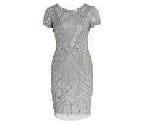 Kleid mit Paillettenbesatz - blaugrau