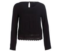 Bluse mit Spitzensaum - schwarz